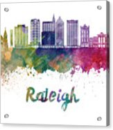 Raleigh V2 Skyline In Watercolor Acrylic Print