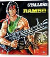 Rambo 2 Sylvester Stallone Paintinf Acrylic Print