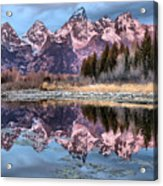 Grand Teton Snow Capped Reflections Acrylic Print