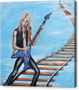 Randy Rhoads On The Tracks Of The Crazy Train Acrylic Print