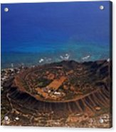 Rare Aerial View Of Extinct Volcanic Crater In Hawaii.  Acrylic Print
