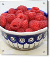 Raspberries In Polish Pottery Bowl  Acrylic Print