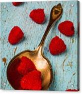 Raspberries With Antique Spoon Acrylic Print