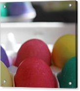 Raspberry And Hawaiian Surf Colored Easter Eggs Acrylic Print