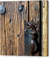 Rattlesnake Door Handle Mission San Xavier Del Bac Acrylic Print by Thomas R Fletcher