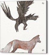 Raven And Old Fox Acrylic Print