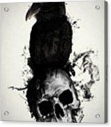Raven And Skull Acrylic Print