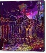 Raven Castle Ruin Trees Sky  Acrylic Print