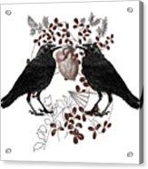 Ravens And Anatomical Heart Acrylic Print