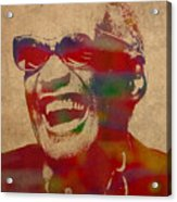 Ray Charles Watercolor Portrait On Worn Distressed Canvas Acrylic Print