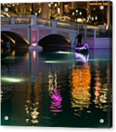 Razzle Dazzle - Colorful Neon Lights Up Canals And Gondolas At The Venetian Las Vegas Acrylic Print
