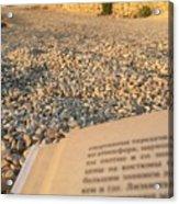 Reading A Book On Pebble Beach Acrylic Print