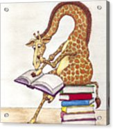 Reading Giraffe Acrylic Print by Julia Collard