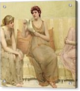 Reading The Story Of Oenone Acrylic Print by Francis Davis Millet