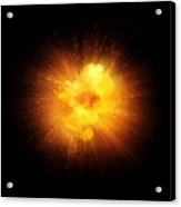 Realistic Fiery Explosion, Orange Color With Sparks Isolated On Black Background Acrylic Print