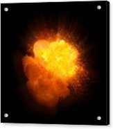 Realistic Fire Explosion, Orange Color With Smoke And Sparks Acrylic Print
