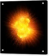 Realistic Fire Explosion, Orange Color With Sparks Isolated On Black Background Acrylic Print