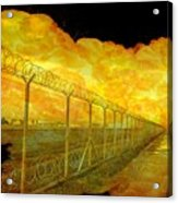 Realistic Orange Fire Explosion Behind Restricted Area Barbed Wire Fence Acrylic Print