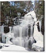 Receding Winter Ice At Ganoga Falls Acrylic Print