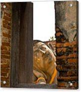 Reclining Buddha View Through A Window Acrylic Print