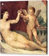 Reclining Venus With Cupid Acrylic Print