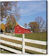 Red Amish Barn Acrylic Print by Donna Bosela