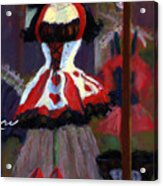Red And Black Jester Costume Acrylic Print by Cheryl Whitehall