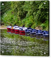 Red And Blue Boats On The River Coquet Acrylic Print