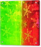 Red And Green With A Snowflake Pattern Acrylic Print