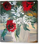 Red And White Flowers By Ralph Acrylic Print