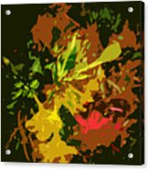 Red And Yellow Flowers Abstract Acrylic Print