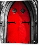 Red Arched Door Acrylic Print