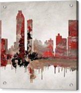 Red Atlanta Georgia Skyline Acrylic Print