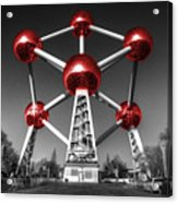 Red Atomium Acrylic Print by Rob Hawkins