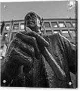 Red Auerbach Chilling At Fanueil Hall Black And White Acrylic Print