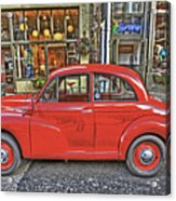 Red Morris Minor Acrylic Print