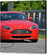 Red Auston Martin Leaving Pit Lane Acrylic Print