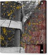 Red Barn And Forsythia Acrylic Print