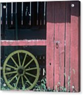 Red Barn And Wagon Wheel Acrylic Print