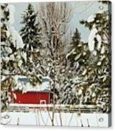 Red Barn At Christmas Acrylic Print