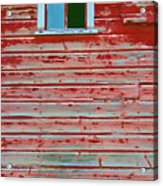 Red Barn Broken Window Acrylic Print