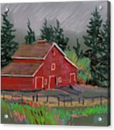 Red Barn In La Honda Acrylic Print