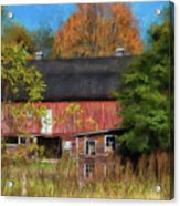 Red Barn In October Acrylic Print