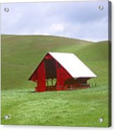 Red Barn In Spring Acrylic Print