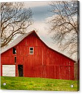 Red Barn In The Blue Sky Acrylic Print