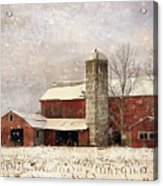 Red Barn In Winter Acrylic Print