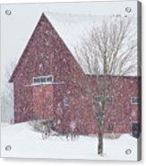 Red Barn Nor'easter  Acrylic Print
