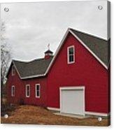 Red Barn On A Grey Day Acrylic Print
