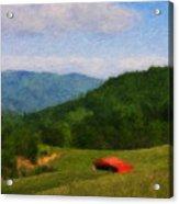 Red Barn On The Mountain Acrylic Print by Teresa Mucha