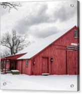 Red Barn On Wintry Day Acrylic Print